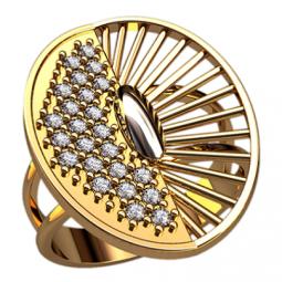 Золотое кольцо с круглой центральной частью 1314