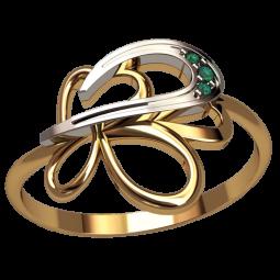 Недорогое золотое колечко с тремя маленькими камнями 1332
