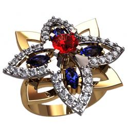 Золотое многокаменное кольцо звезда с круглым камнем в центре 1350