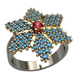 Женское золотое кольцо в форме звезды усеянной камнями 1363