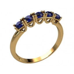 Золотое женское кольцо с дорожкой синих камней 2274