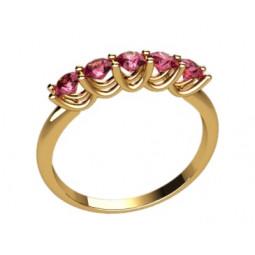 Женское золотое кольцо с дорожкой розовых фианитов 2276