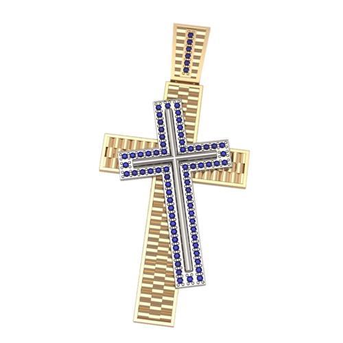 Двойной декоративный крест из комбинированного золота 5026