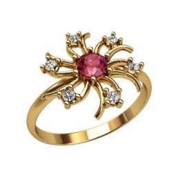 Кольцо цветочек с круглыми фианитами 2322