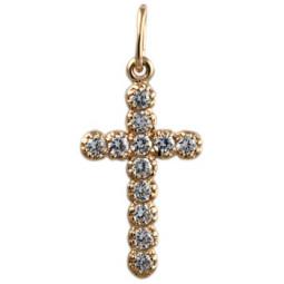 Декоративный золотой крест с камнями 5004