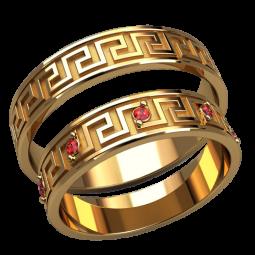 Золотые обручальные кольца с греческим орнаментом и красными камнями 20001