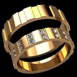 Золотые обручальные кольца с прямоугольными прорезями и белыми камнями 2589
