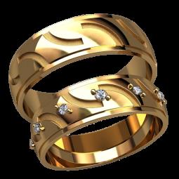 Золотые обручальные кольца с белыми фианитами в женском кольце 2594