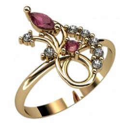 Золотое недорогое кольцо с белыми круглыми фианитами и маркизом красного цвета 2347