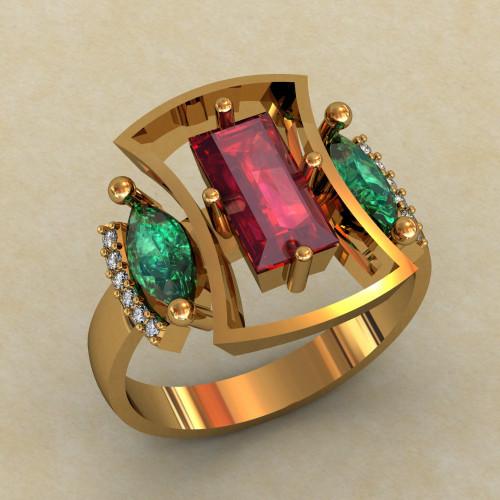 Женское массивное золотое кольцо 473
