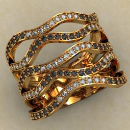 Широкое золотое кольцо с фианитами 466