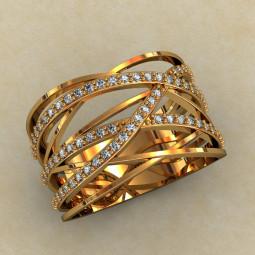 Широкое кольцо с камнями 460