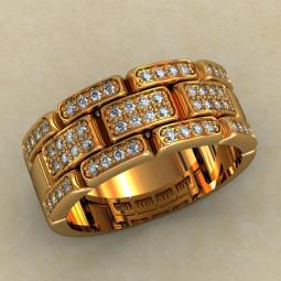 Широкое многокаменное женское кольцо 367-КЕ