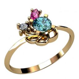 Маленькое женское золотое колечко с разноцветными камнями 2374