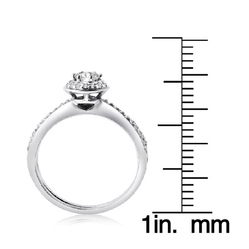 Дизайнерское двойное женское кольцо из белого золота с камнями 710083