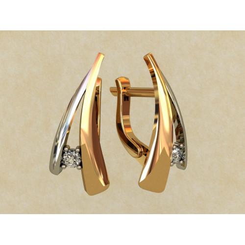 Золотые серьги с английской застежкой из комбинированного золота 0157