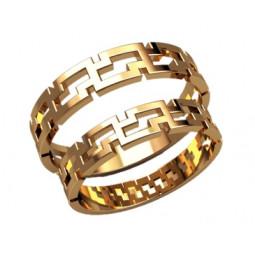 Золотые обручальные кольца в форме геометрических элементов 2598
