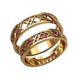 Золотые обручальные кольца в сеточку с розовыми фианитами 2600