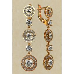 Женские серьги висюльки из красного золота с белыми камнями 0176