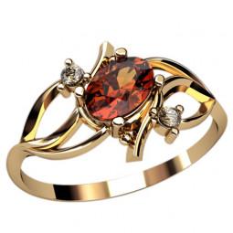 Маленькое недорогое золотое женское колечко с красным овальным фианитом 2446