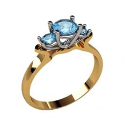 Женское золотое кольцо солитер с тремя камнями 1180