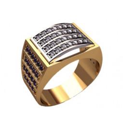 Многокаменный мужской золотой перстень 3180