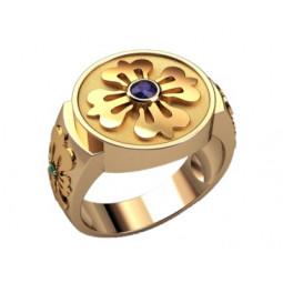 Мужской перстень из крсного золота с маленьким фианитом в центре площадке 3205