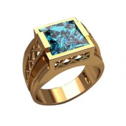 Мужской золотой перстень с крупным квадратным голоубым фианитом 3211