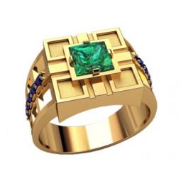 Золотая мужская печатка с синими и квадратным зеленым фианитом 3219