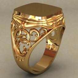 Мужская золотая печатка классической формы 493