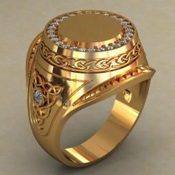 Золотая мужская печатка с узорами и дорожкой камней по кругу 494