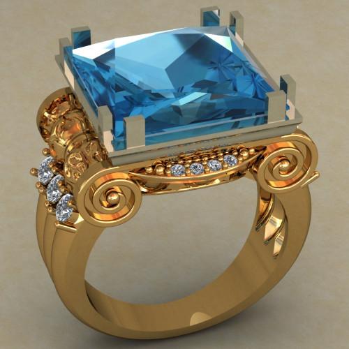 Золотой перстень с крупным синим камнем 490