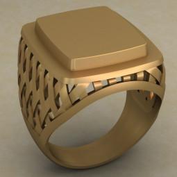Мужская классическая золотая печатка 487