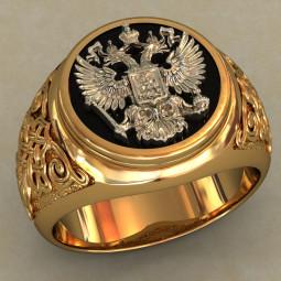 Мужская золотая печатка с изображением двуглавого орла 488