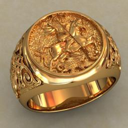 Золотая мужская печатка с изображением Георгия Победоносца 0483