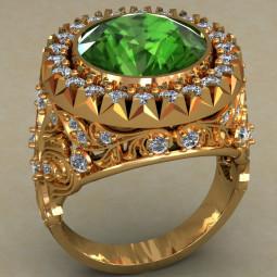 Золотой мужской перстень с большим зеленым камнем 484