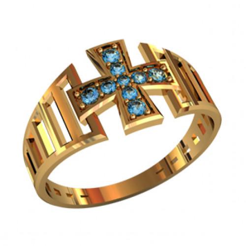 Золотое охранное кольцо с круглыми камнями 21039260