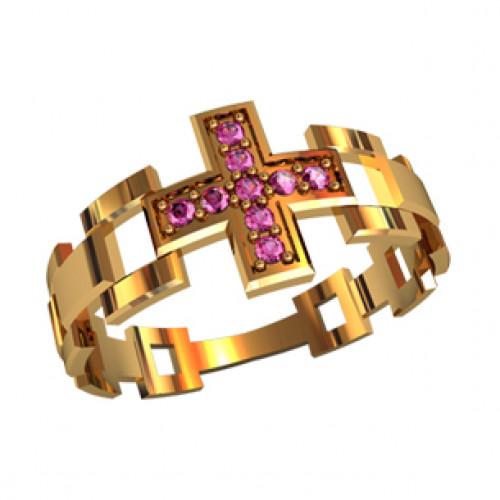 Женское охранное кольцо с розовыми камнями 21049280