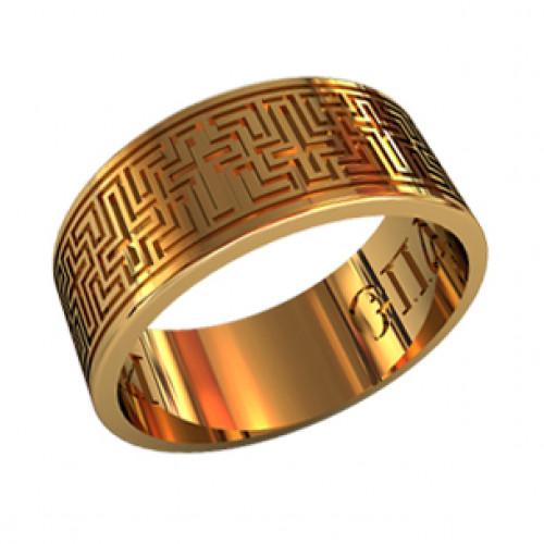 Широкое охранное кольцо из красного золота 21034290