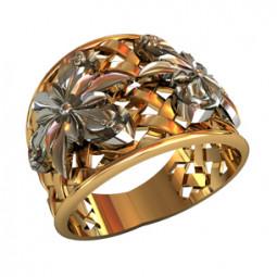 Женское массивное кольцо с цветами из белого золота 110280