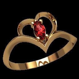 Маленькое золотое колечко с маркизом в центре сердца 2518