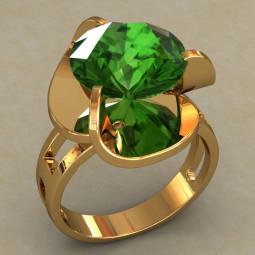 Женское золотое кольцо крупным цирконием 690
