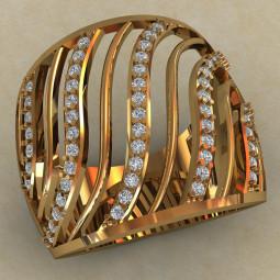 Женское кольцо из золота с фианитами 704