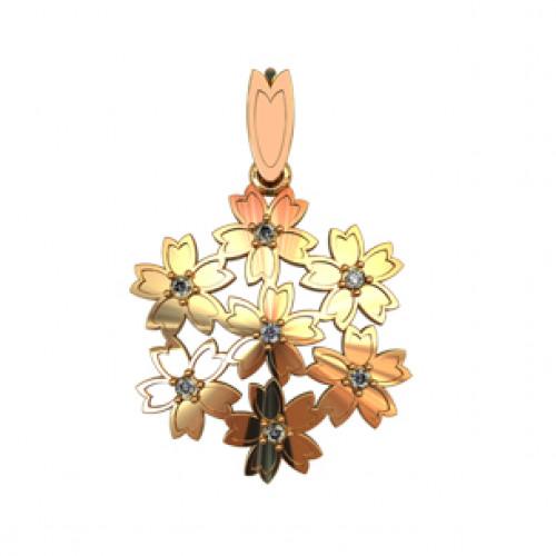 Золотая женская подвеска с маленькими камнями 410350