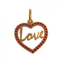 Женский золотой кулон сердце с камнями 410410