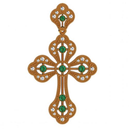 Золотой декоративный крест с зелеными камнями 410060