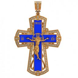Золотой крест с ювелирной эмалью 410070