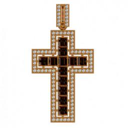 Золотой крест с дорожками камней разной огранки 410080