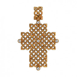 Золотой крест с маленькими камнями 410100