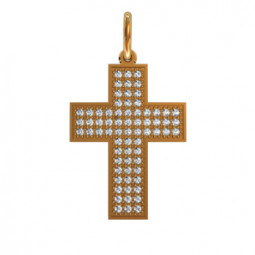 Декоративный золотой крест с россыпью камней 410120